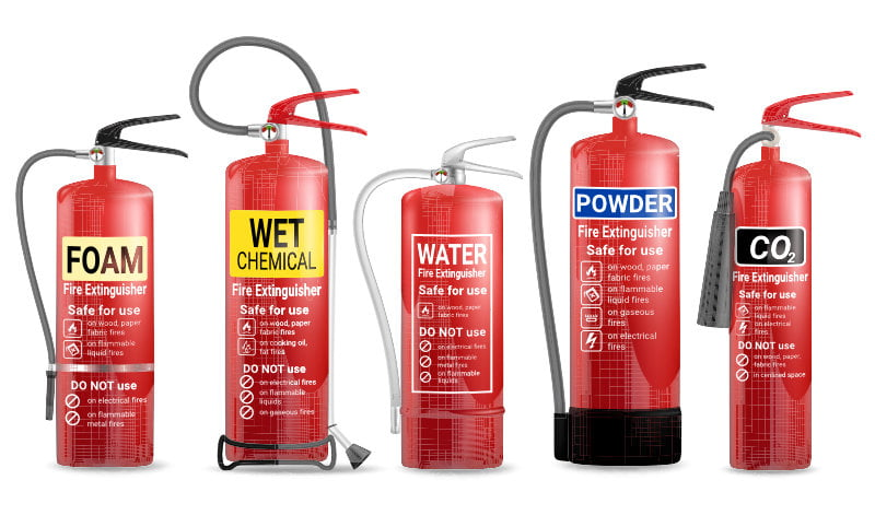 Image showing the different types of fire extinguisher