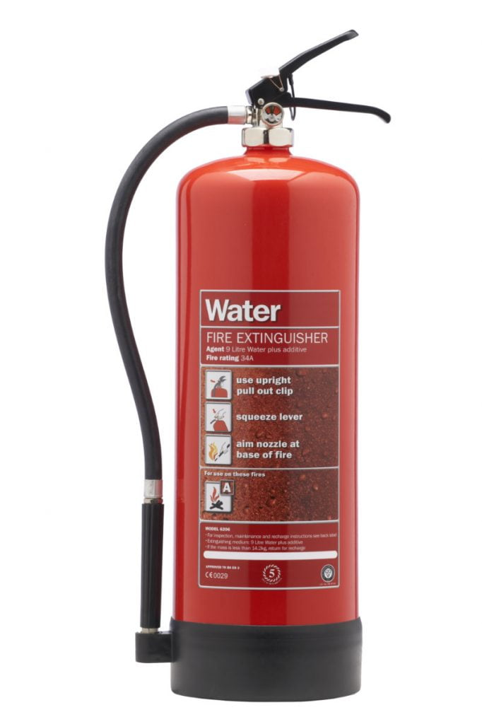 Different types of fire extinguisher - water