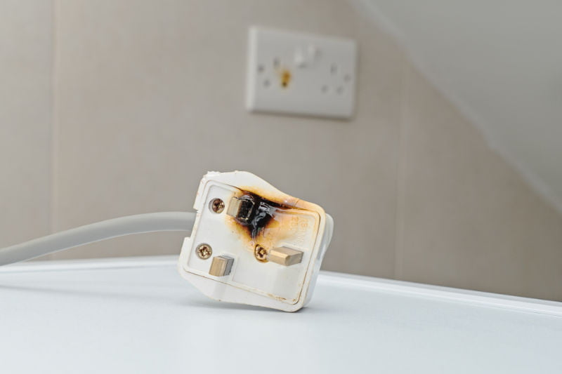 Smoke and burn damage is a warning sign of electrical hazards