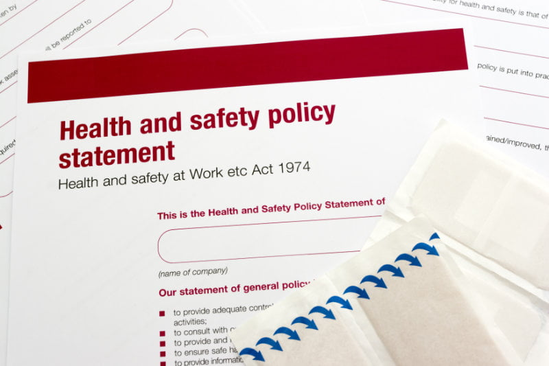 A health and safety policy should form part of your checklist.